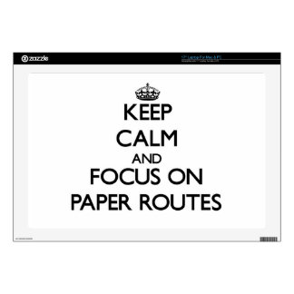 """Keep Calm and focus on Paper Routes 17"""" Laptop Decal"""