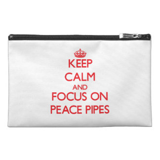 Keep Calm and focus on Peace Pipes Travel Accessory Bags