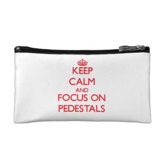 Keep Calm and focus on Pedestals Makeup Bags