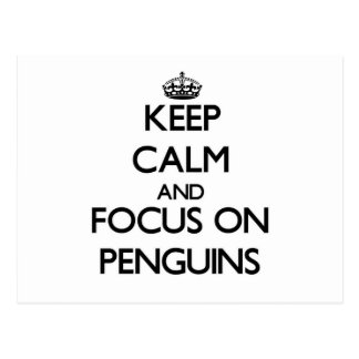 Keep Calm and focus on Penguins Postcard