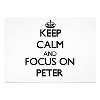 Keep Calm and focus on Peter Custom Invitation