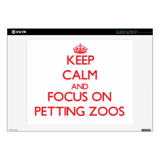 """Keep Calm and focus on Petting Zoos 14"""" Laptop Decals"""