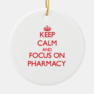 Keep Calm and focus on Pharmacy Double-Sided Ceramic Round Christmas Ornament