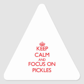 Keep Calm and focus on Pickles Triangle Sticker