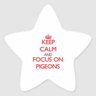 Keep Calm and focus on Pigeons Star Stickers
