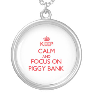 Keep Calm and focus on Piggy Bank Necklace