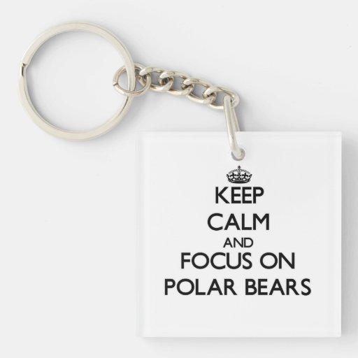 Keep Calm and focus on Polar Bears Square Acrylic Keychain
