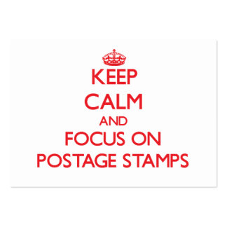 Keep Calm and focus on Postage Stamps Large Business Cards (Pack Of 100)