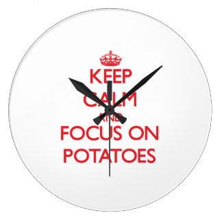 Keep Calm and focus on Potatoes Clock