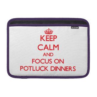 Keep Calm and focus on Potluck Dinners MacBook Sleeve