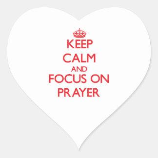 Keep Calm and focus on Prayer Heart Sticker
