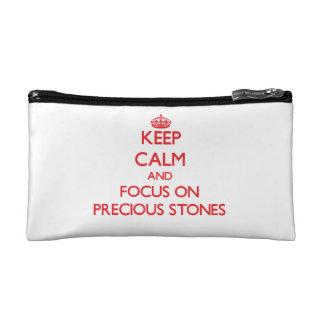 Keep Calm and focus on Precious Stones Cosmetics Bags