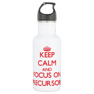Keep Calm and focus on Precursors 18oz Water Bottle