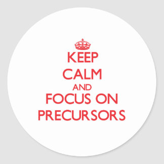 Keep Calm and focus on Precursors Classic Round Sticker