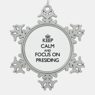 Keep Calm and focus on Presiding Snowflake Pewter Christmas Ornament
