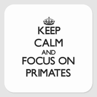 Keep Calm and focus on Primates Stickers