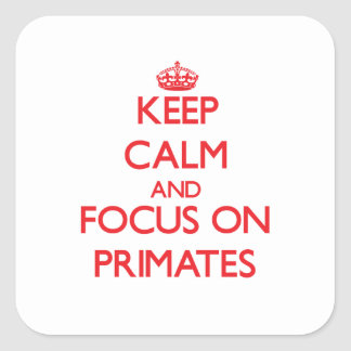Keep Calm and focus on Primates Square Sticker