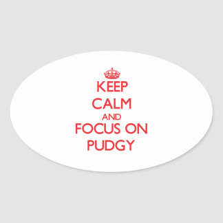 Keep Calm and focus on Pudgy Oval Sticker