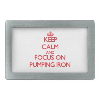 Keep Calm and focus on Pumping Iron Rectangular Belt Buckles