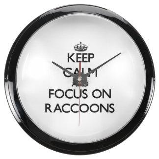 Keep calm and focus on Raccoons Fish Tank Clock