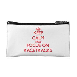 Keep Calm and focus on Racetracks Makeup Bags