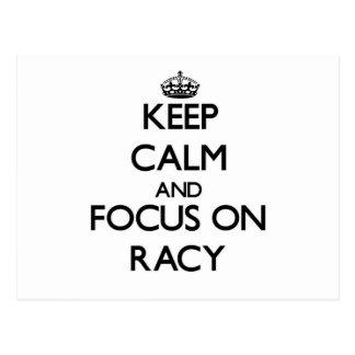 Keep Calm and focus on Racy Postcard