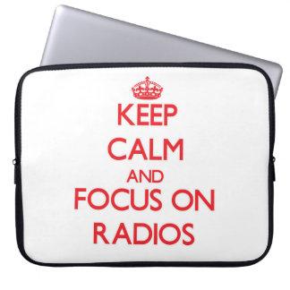 Keep Calm and focus on Radios Laptop Sleeves