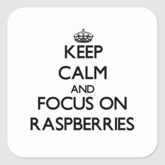 Keep Calm and focus on Raspberries Square Sticker