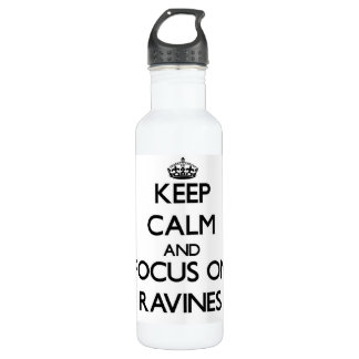 Keep Calm and focus on Ravines 24oz Water Bottle