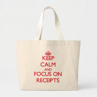 Keep Calm and focus on Receipts Canvas Bags