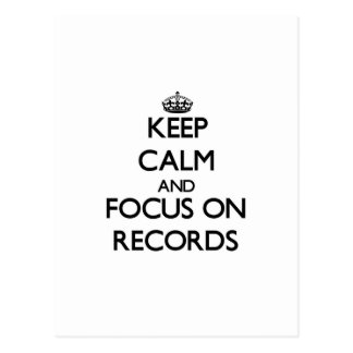 Keep calm and focus on Records Postcard
