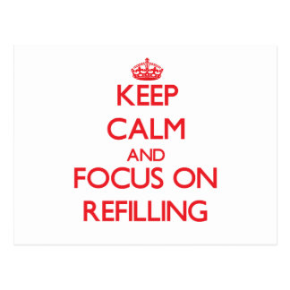 Keep Calm and focus on Refilling Post Card