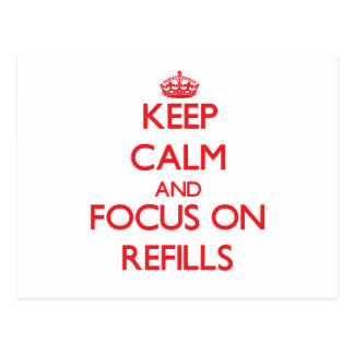 Keep Calm and focus on Refills Postcard