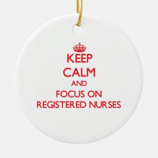 Keep Calm and focus on Registered Nurses Christmas Tree Ornaments