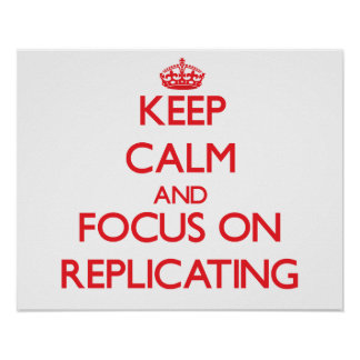 Keep Calm and focus on Replicating Poster