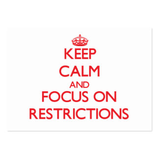 Keep Calm and focus on Restrictions Large Business Cards (Pack Of 100)