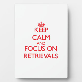 Keep Calm and focus on Retrievals Display Plaques