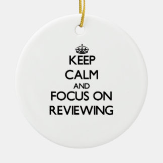 Keep Calm and focus on Reviewing Double-Sided Ceramic Round Christmas Ornament