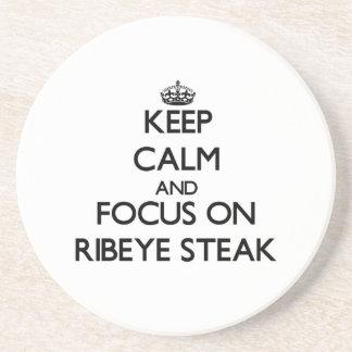 Keep Calm and focus on Ribeye Steak Beverage Coasters