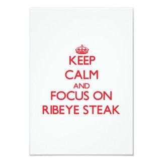 Keep Calm and focus on Ribeye Steak 3.5x5 Paper Invitation Card