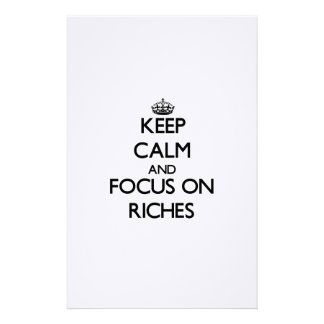 Keep Calm and focus on Riches Custom Stationery