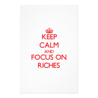 Keep Calm and focus on Riches Personalized Stationery