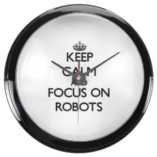 Keep Calm and focus on Robots Aqua Clocks