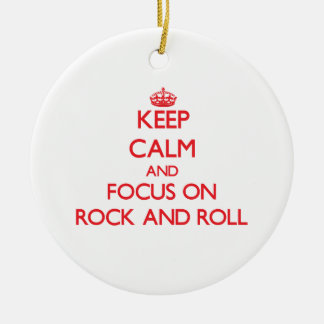 Keep Calm and focus on Rock And Roll Christmas Tree Ornament