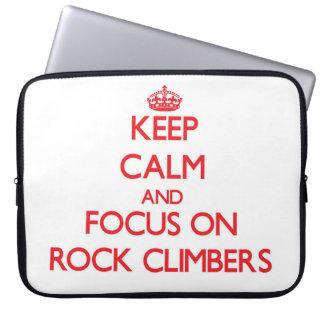 Keep Calm and focus on Rock Climbers Laptop Computer Sleeve