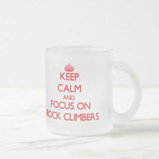 Keep Calm and focus on Rock Climbers 10 Oz Frosted Glass Coffee Mug