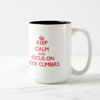 Keep Calm and focus on Rock Climbers Two-Tone Coffee Mug