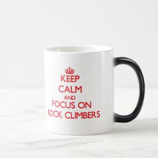 Keep Calm and focus on Rock Climbers 11 Oz Magic Heat Color-Changing Coffee Mug