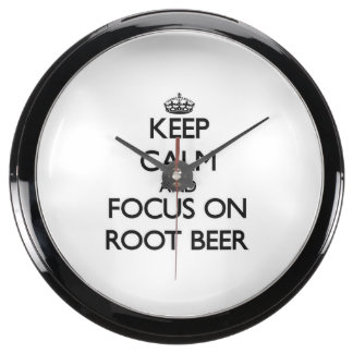 Keep Calm and focus on Root Beer Fish Tank Clocks