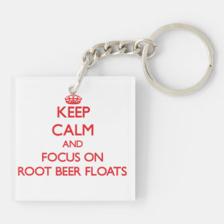 Keep Calm and focus on Root Beer Floats Double-Sided Square Acrylic Keychain